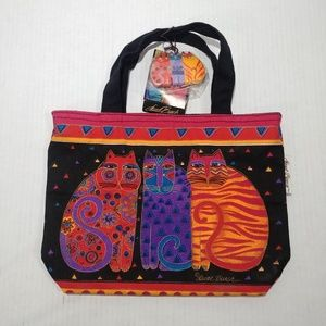 NWT Laurel Burch Cotton Hand Made Cats Tote Bag